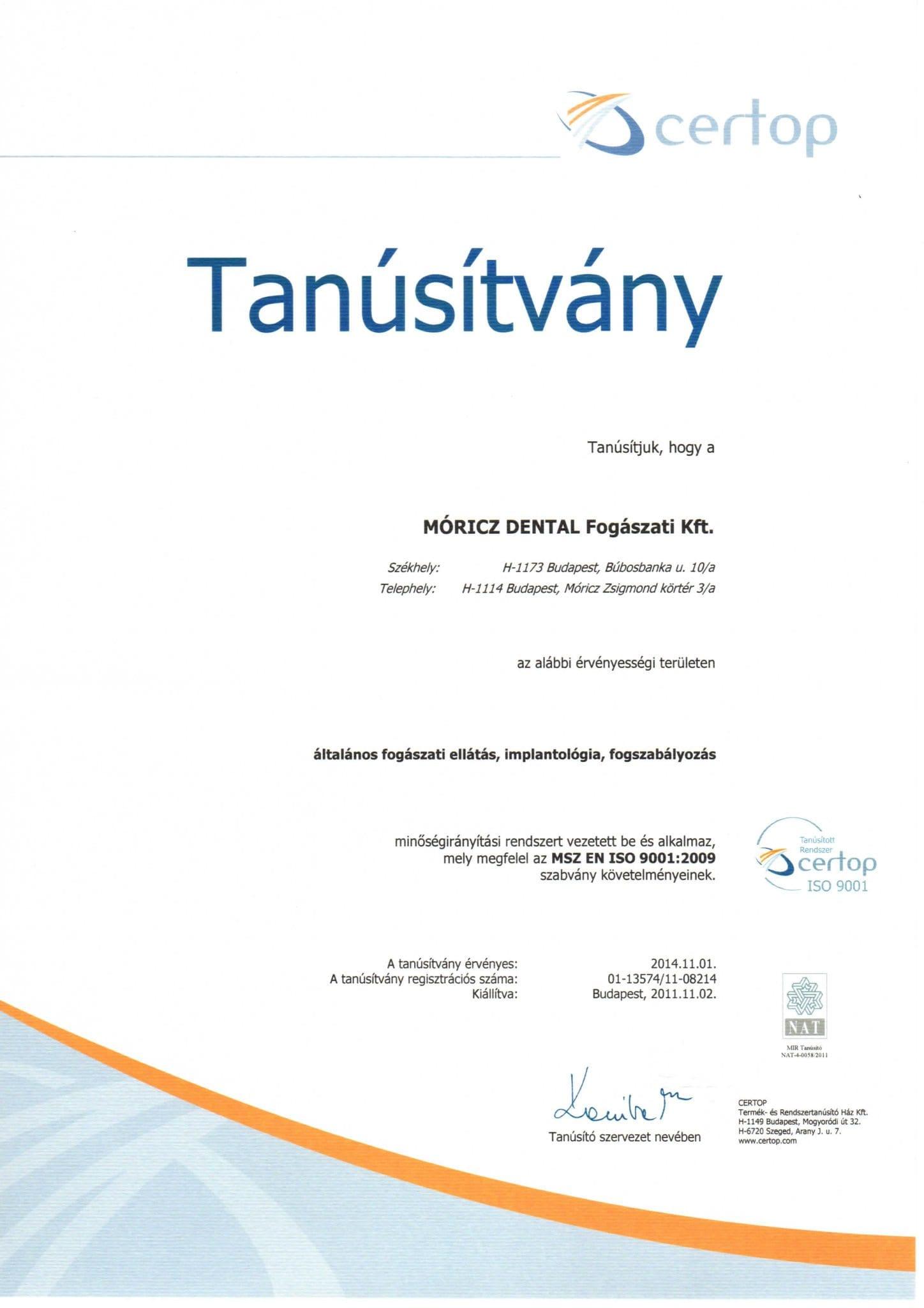 ISO Zertifikat des Moritz Dentral Zentrums in Budapest